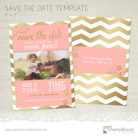 Birthday Save The Date Card Template For Photographers  Bd