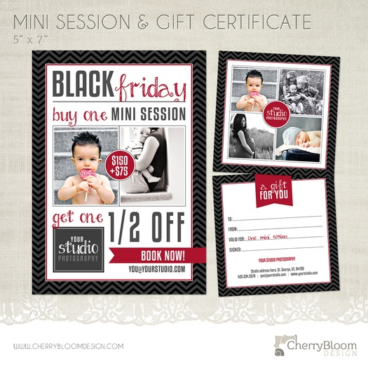 black friday mini session templates for photographers marketing board and gift certificate bdl04