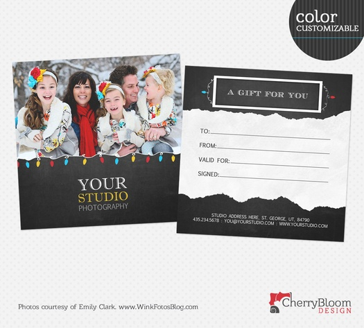 Holiday Gift Certificate Template For Photographers  Gc